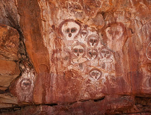 Indigenous Australian art - Aboriginal pictographs known as Wandjina in the Wunnumurra Gorge, Barnett River, Kimberley, Western Australia