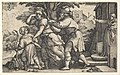 Abraham sending away Hagar and Ishmael- Abraham holds forth a vessel as Hagar and Ishmael stride before him, from the series 'The Story of Abraham' MET DP828532.jpg