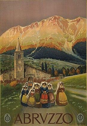 Dipinto della Majella sullo sfondo della chiesa madre di Sant'Eustachio (opera di Vincenzo Alicandri)