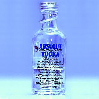 Vodka - A miniature bottle of Absolut Vodka.