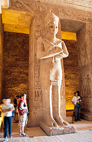 One of the eight pillars in the main hall of the temple, showing Ramesses II as Osiris.