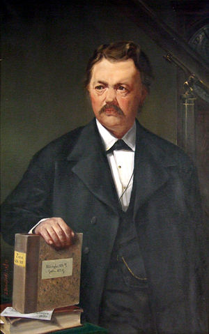 Adalbert Krueger - Artwork of Adalbert Krueger. The writing on the book refers to two of the observatories where he worked: Helsingfors (Helsinki, 1875) and Gotha (1877).