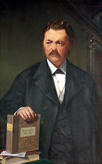 Adalbert Krueger - Artwork of Adalbert Krueger. The writing on the book refers to two of the observatories where he worked: Helsingfors (Helsinki, 1875) and Gotha (1877).