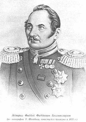 Fabian Gottlieb von Bellingshausen - Admiral Faddey Faddeyevich Bellingshausen. Lithograph by U. Schzeibach (У. Шзейбах), circa 1835.