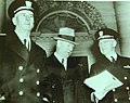 Admiral King, Secretary Knox, and Admiral Stark leave the White House, 1942 (22369003144).jpg