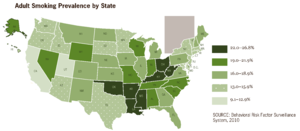 Prevalence of tobacco consumption - Smoking prevalence among U.S. adults by state (2010)