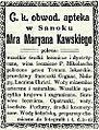 Advertisement of Marian Kawski pharmacy (1906).jpg