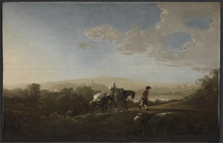 Travellers in Hilly Countryside