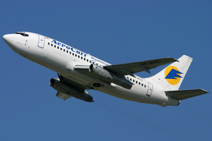 Aerosvit Airlines - One of Aerosvit's original Boeing 737-200 aircraft departs Boryspil International Airport in 2008.