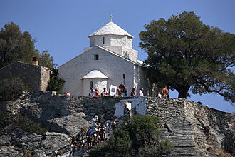 Mamma Mia! (film) - The Agios Ioannis chapel during filming of the wedding scene for Mamma Mia!.