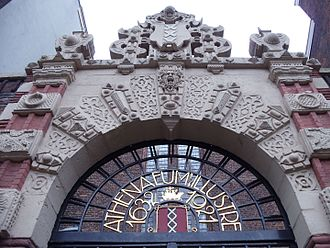 The Agnietenkapel Gate at the University of Amsterdam, founded in 1632 as the Athenaeum Illustre Agnietenkapel Gate.jpg