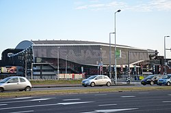 View of the main entrance to Ahoy Rotterdam from the Zuiderparkweg
