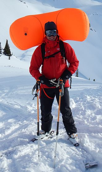 Backcountry skiing - A deployed airbag.