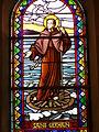 Aisne, RIBEMONT. Vitrail Miracle de la roue, chapelle Saint-Germain. CCVO EMILIE MARTIAL.JPG