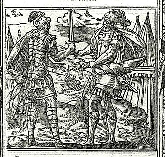 Hector - Ajax and Hector exchange gifts (woodcut in Andreas Alciatus, Emblematum libellus, 1591).