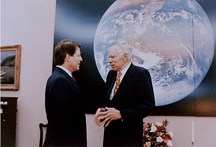 Glenn T. Seaborg with Gore in the White House during a visit of the 1993 Science Talent Search (STS) finalists on March 4, 1993 Al Gore Glenn.jpg