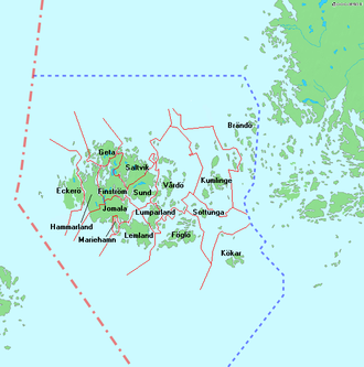 Municipalities of Åland - Map showing the municipalities of Åland