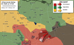 Battle of al-Bab - Map of the battle up to February 1