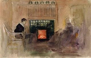 Interiööri taiteilijan huvilalta Kilosta, Erik istumassa uunin vieressä