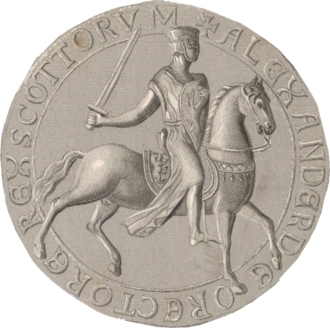 Royal Arms of Scotland -  Reverse of Alexander II's Great Seal, displaying the Lion rampant on saddle and shield
