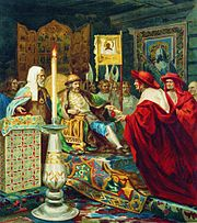 Alexander Nevskiy receiving papal legates by Siemiradzki (litography)