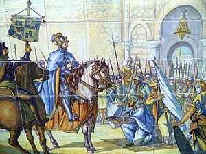 History of Toledo, Spain - Azulejo in Seville's Plaza de España despicting the conquest of Toledo in 1085.
