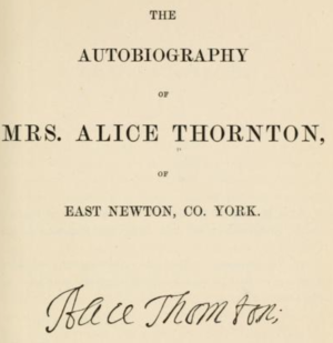 Surtees Society - Image: Alice Thornton title page from 1875