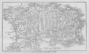 Vingtaine - This map, published 1891, shows the location of vingtaines and cueillettes in Jersey
