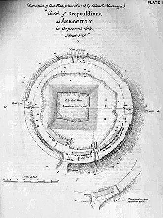 Amaravati Stupa - Plan of the Amaravati Stupa as sketched by Colin Mackenzie in 1816.