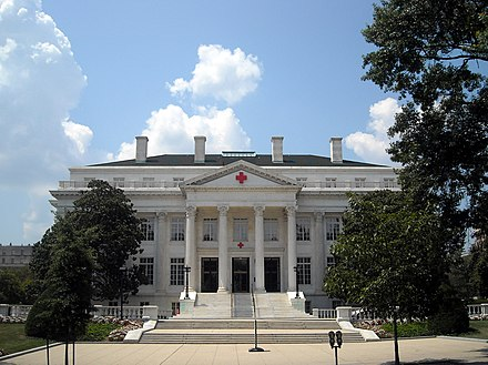The American Red Cross National Headquarters in Washington, D.C. is a National Historic Landmark. American Red Cross headquarters.JPG