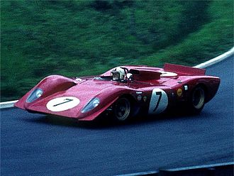Chris Amon - Amon in the 3.0L Ferrari 312P during the 1969 Nürburgring 1000 km.