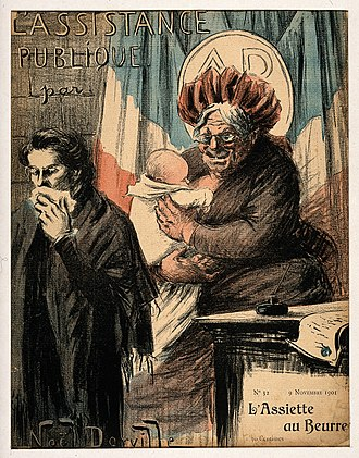 Nanny state - An old wet nurse symbolising France as nanny-state and public health provider (colour photomechanical reproduction of a lithograph by N. Dorville, 1901)