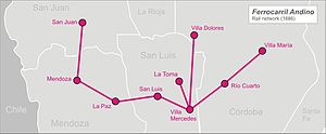 Andean Railway - Image: Andean railway arg map