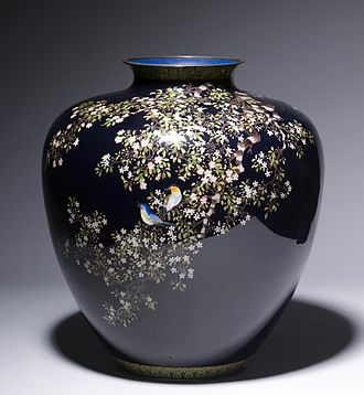 Ando Cloisonné Company - Vase with flowering cherry and birds motif, by Ando Cloisonné Company, c. 1910
