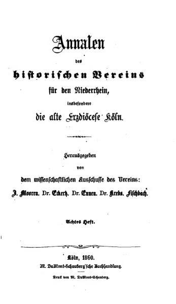 File:Annalen des Historischen Vereins für den Niederrhein 08 (1860).djvu