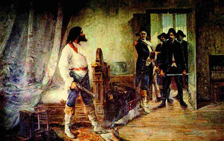 Painting showing the arrest of Tiradentes; he was sentenced to death for his involvement in the best known movement for independence in Colonial Brazil. Painting of 1914. Antonio Parreiras - Prisao de Tiradentes, 1914.jpg