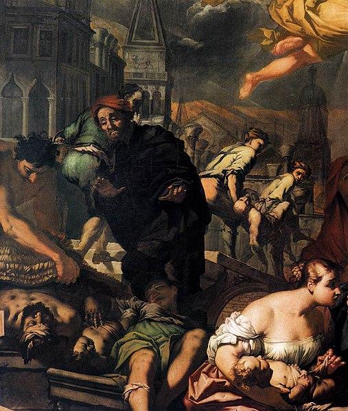 File:Antonio Zanchi La Virgen se aparece a las víctimas de la peste det 1666 Scuola Grande di San Rocco, Venecia.jpg