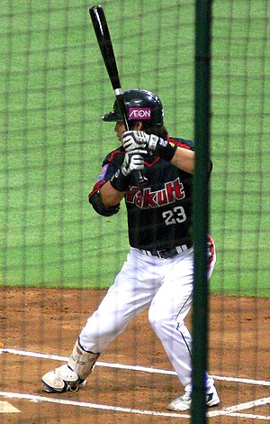 English: Norichika Aoki of the Yakult Swallows...