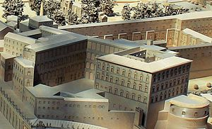 Apostolic Palace - A model of the palace in the Vatican Museums. The buildings are arranged around a central courtyard.