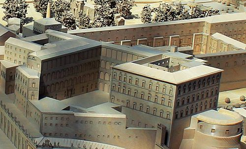 A model of the palace in the Vatican Museums. The buildings are arranged around a central courtyard.