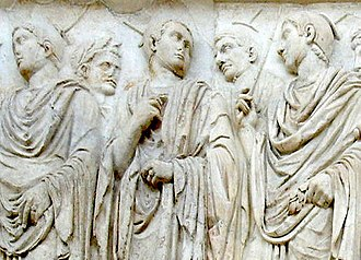 Jupiter (mythology) - Detail of relief from the Augustan Altar of Peace, showing flamines wearing the pointed apex