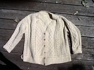 Aran jumper - An Aran cardigan in the traditional white báinín colour.