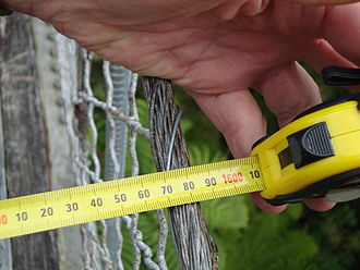 Tape measure - A millimeter-only metric roll-up tape measure being used.