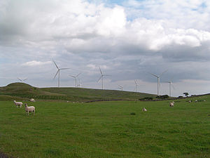 The Ardrossan Wind Farm on the west coast of S...