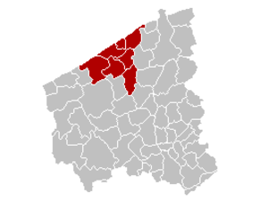 Arrondissement of Ostend - Image: Arrondissement Oostende Belgium Map