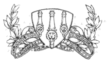 A line drawing of three cannons, viewed from above, on a shield, surrounded by a scroll and decorative foliage