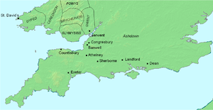 Asser - A map of southern Great Britain showing places Asser is known to have visited. The monasteries he was given by Alfred are also shown. The exact location of Ashdown is uncertain, though it is known to be on the Berkshire Downs.