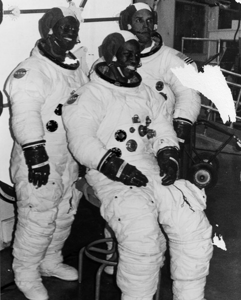 Astronaut candidates Ronald McNair, Guion Bluford, and Frederick Gregory