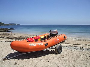 Arancia inshore rescue boat at Gyllyngvase beach