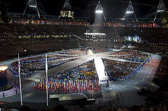 2012 Summer Olympics closing ceremony - Olympic athletes assembled in the shape of the Union Flag